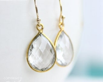 Gold Crystal Quartz Bridal Earrings - Gemstone Earrings - Teardrops