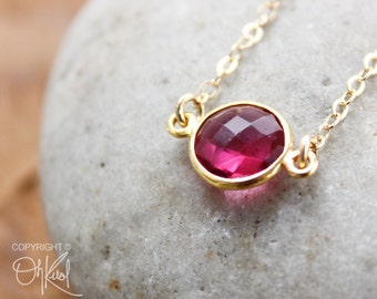 Gold Red Ruby Quartz Connector Necklace - 14K Gold Filled - Dainty Necklace