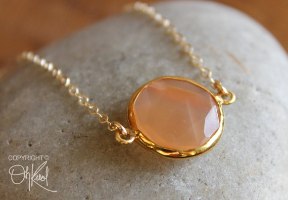 Gold Peach Moonstone Gemstone Necklace 14K Gold Fill