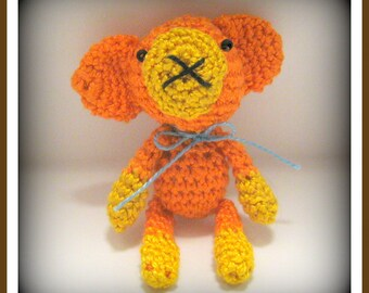 "Tiny 2"" Monkey: Mini Crocheted Thread Art Micro Miniature Amigurumi"