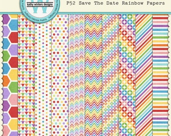 P52 Save The Date Rainbow Papers