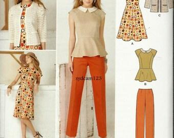 2013 Peplum Blouse..Flared Dress..Slim Pants...Collarless Jacket..Simplicity 1699 Bust 31.5 to 38 UNCUT