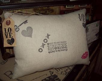 Romantic key to my heart pillow love Valentines Wedding gift,bedroom decor