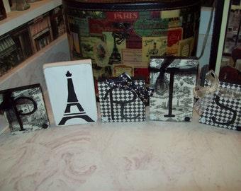 Black and white toile Paris letter blocks,Paris theme,Paris decor,Paris bedroom decor,Paris wedding decor,Paris bridal shower,Eiffel Tower