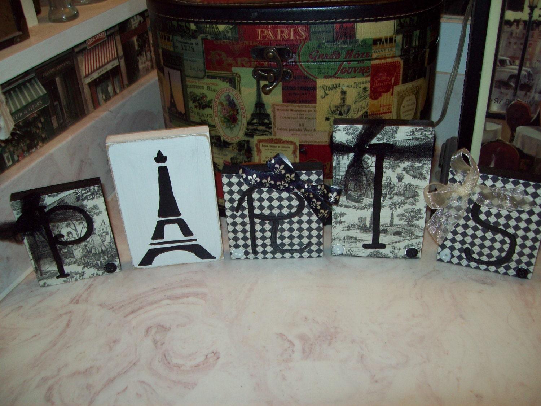 Black Toile Decorating: Black And White Toile Paris Letter BlocksParis ThemeParis