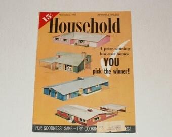 Vintage Household Magazine November 1957- 15 Cent Cover Price - Scrapbooking - Retro 1950s Ads