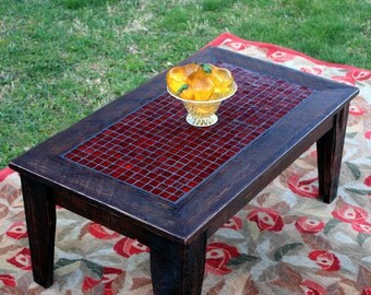 "Glass Mosaic Coffee Table ""Fire & Ice"", Rustic Contemporary, Dark Brown Satin Finish  - Handmade"