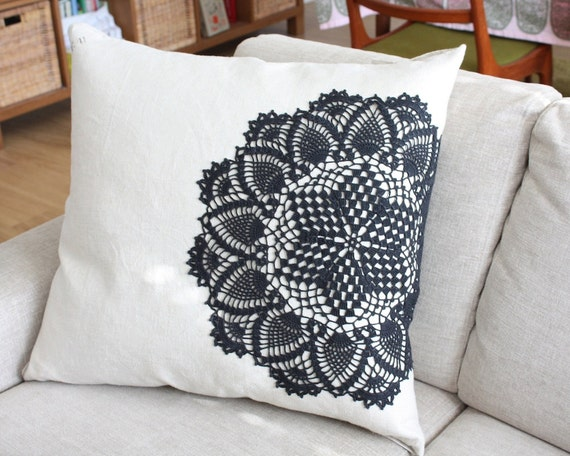 Army linen pillow with vintage lace