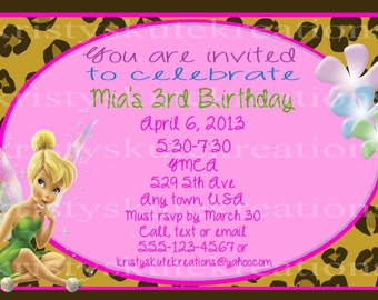 Digital Tinkerbell and animal print Birthday Invitation OR Thank you card