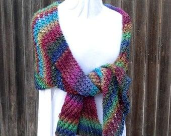 Knit Shawl Pattern, Knitting Pattern for Bias Knit Wrap, Bias Knit Scarf Design, Chunky Knit Scarf Pattern, Knitting Patterns