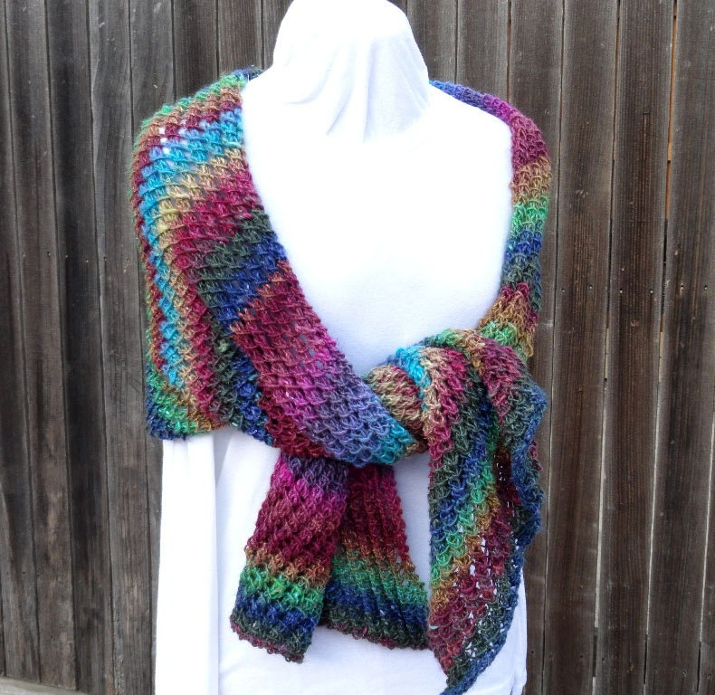 Diagonal Knit Scarf Pattern : Knit Shawl Pattern Diagonal Knitted Scarf Pattern Knitting