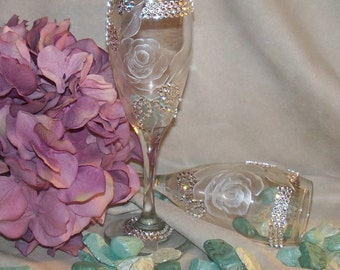 Hand Painted Wine Glass Flutes with Swarovski Crystals