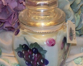 Hand Painted Grapes Candle Jar with da Lime in da Coconut Fragrance