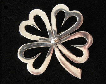 Sterling Silver Shamrock Brooch, Taxco Mexico 1960's, Eagle 3