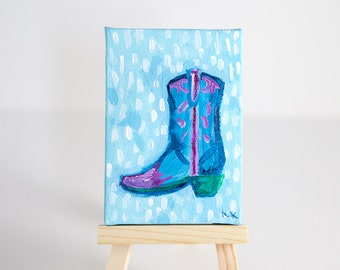 Southwestern Art, Miniature Painting, Cowboy Boot, Cowgirl Gifts, Gifts for Horse Lovers, Gifts for him under 30, Stocking Stuffers