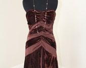 SAMPLE SALE Bronze Ruched Velvet Knit Dress Size S