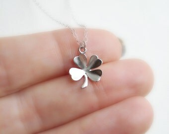 Silver Clover Necklace, Silver Four Leaf Clover Pendant Lucky Charm Irish Luck Shamrock St. Patrick's Day Everyday Modern Minimalist Jewelry