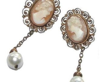 Edwardian Genuine Shell Cameos and South Sea Pearls Gilt 935 Sterling Silver Earrings