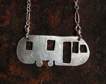 Sterling silver airstream trailer necklace