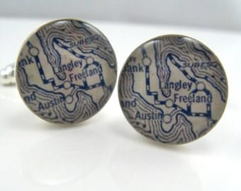 Vintage map cufflinks - Langley Whidbey Island Washington 1925  - silver-plated round cuff links