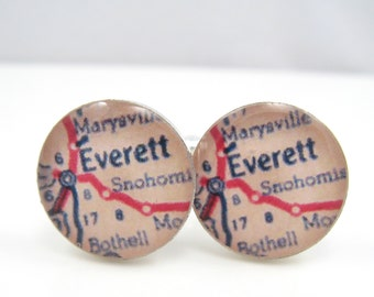 Vintage map cufflinks - Everett, Washington, 1950s map - silver-plated round cuff links