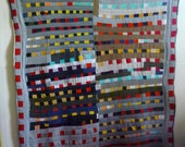Queen Size Patchwork Quilt Made from T-Shirt Remnants
