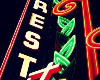 Crest Theatre Photograph, Historic Sacramento Art, Neon Wall Decor, Night Photography, City Decor, Marquee Photo