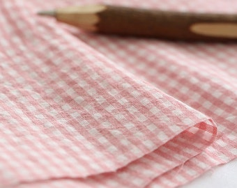 A yard, 4mm Check Pink Washing Cotton, U7017