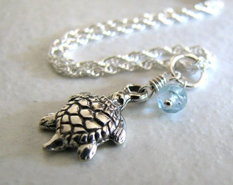 Sterling Silver Anklet, Sea Turtle Charm Anklet, Apatite Gemstone, Ankle Bracelet - To The Sea
