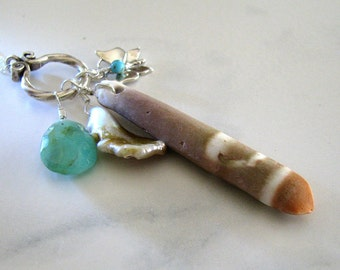 Sale, Beach Charm Necklace, Opal Gemstone, Sterling Silver, Turquoise, Pearl, Gemstone Necklace, Long, Layering Necklace - Summer Amulet