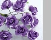 24 small - Lavender mini Roses Paper Flowers