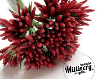 Red Spikey Bud Flower Picks / Stamens for Millinery & Flower Making Bunch of 12