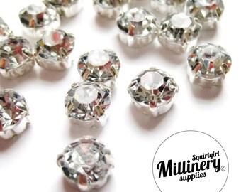 24 Sew-On or Glue-On 8mm Diamantes / Rhinestones for Wedding Crafts & Millinery