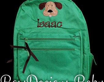 Boys Personalized Backpack, Dog Backpack, Monogrammed, Choose Your Own Colors