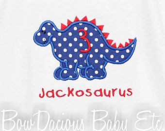 Dinosaur Birthday Shirt, Personalized, Birthday Number, Birthday Boy, Monogrammed, Birthday Number,  Birthday Gift,  Personalized