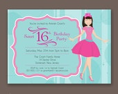Crowned Teen with Bangs - Birthday Party Invitations
