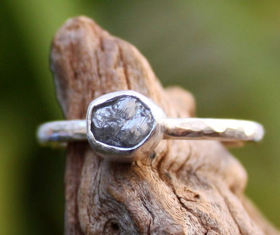 Rough diamond engagement ring sterling silver,custom order,choose your stone.