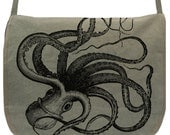 Messenger Bag- Kraken Octopus -- Canvas - large field bag -- adjustable strap