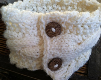 Winter White Scarflette Neckwarmer Cable Knit with Wooden Buttons