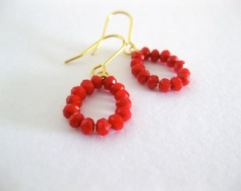 Red czech crystal earrings. Simple everyday jewelry