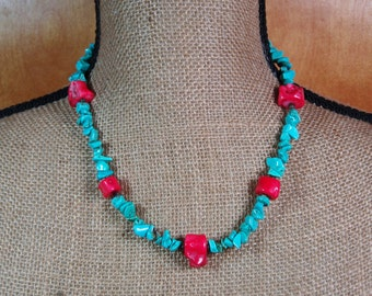 American Turquoise Gemstone Chips with AAA Red Coral Branches .925 Silver Necklace and Earrings