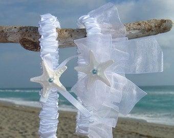 Nautical Garter Set,Beach Wedding Accessories,Starfish Garter Set,Bridal Garter Set,Beach Bride,Destination Weddings,White Garters