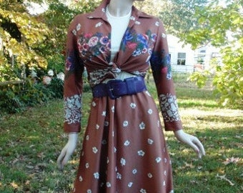 60s Costume, 60s Dress with Vintage Jacket, Vintage Dress and 60s Jacket in Floral Print Size 8