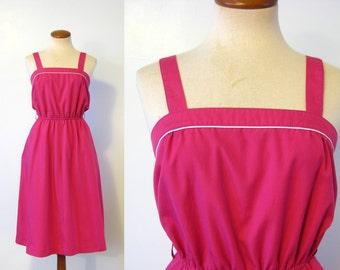 1970s Sundress Magenta Pink Dress White Piping High Elastic Waist Flared Skirt Midi Vintage 70s S XS Extra Small Summer Sun Dress Sasson