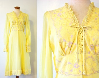 1970s Dress Lace Corset Bodice Yellow Ethereal Prairie Babydoll Empire Waist Vintage 70s Gown Midi S Small M Medium