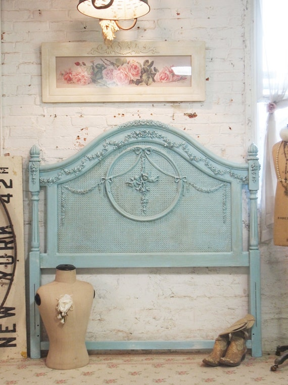 Painted Cottage Shabby Aqua Romantic Headboard BD09