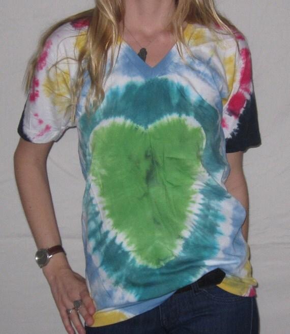 Tie Dye American Apparel Organic V-Neck S Heart