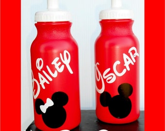 20oz Walt Disney Water Bottle Personalized Minnie Mouse Mickey Mouse Birthday Party Favor