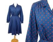 Paisley secretary dress, 1970s skirt blouse, blue red  paisley, pleated skirt, Size M/L