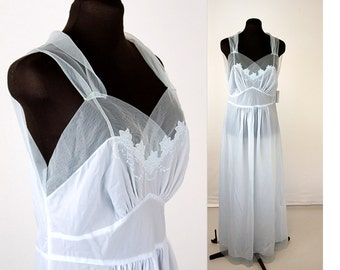 1930s nightgown, pale blue nightgown,30s rayon sheer nightgown, bias cut, embroidered gown, tulle details, Size L, Styled by josie